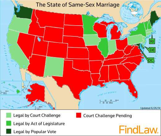 The State of Same-Sex Marriage in America (map) - FindLaw